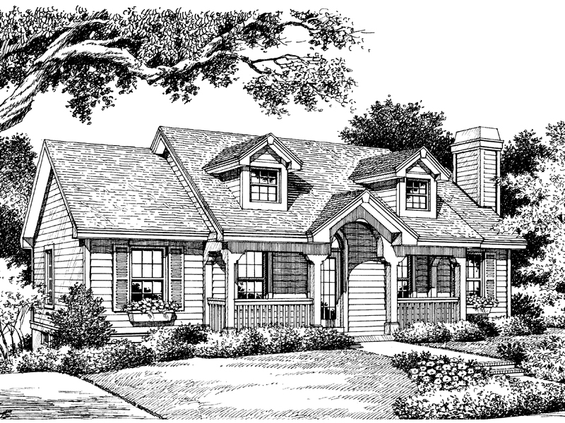 Ranch House Plan Front Image of House 007D-0030
