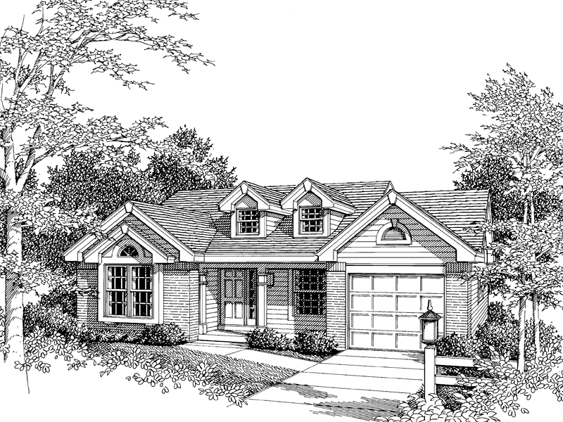 Ranch House Plan Front Image of House 007D-0031