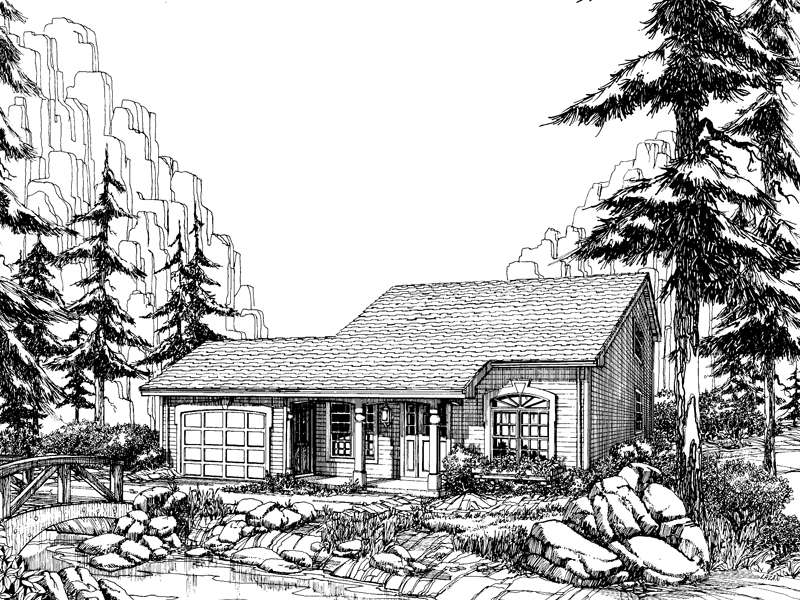 Cabin and Cottage Plan Front Image of House 007D-0036