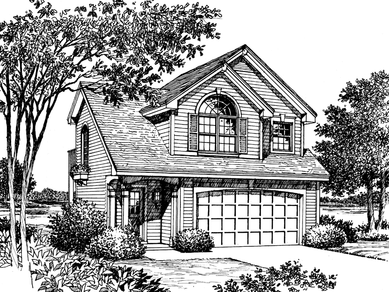 Traditional House Plan Front Image of House 007D-0040