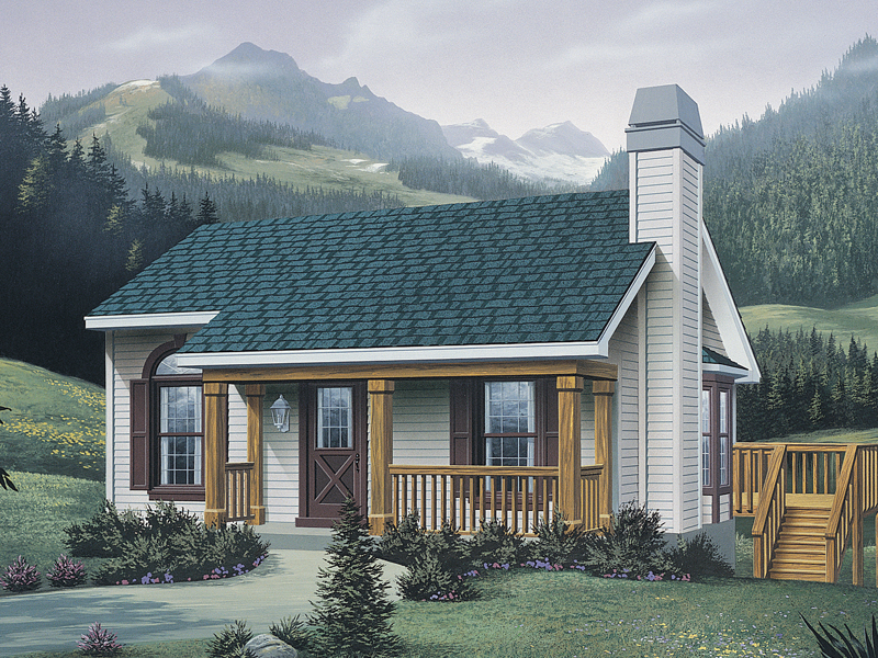 Cabin and Cottage Plan Front of Home 007D-0042