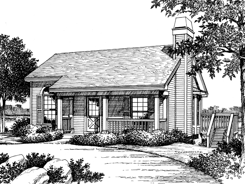 Traditional House Plan Front Image of House 007D-0042