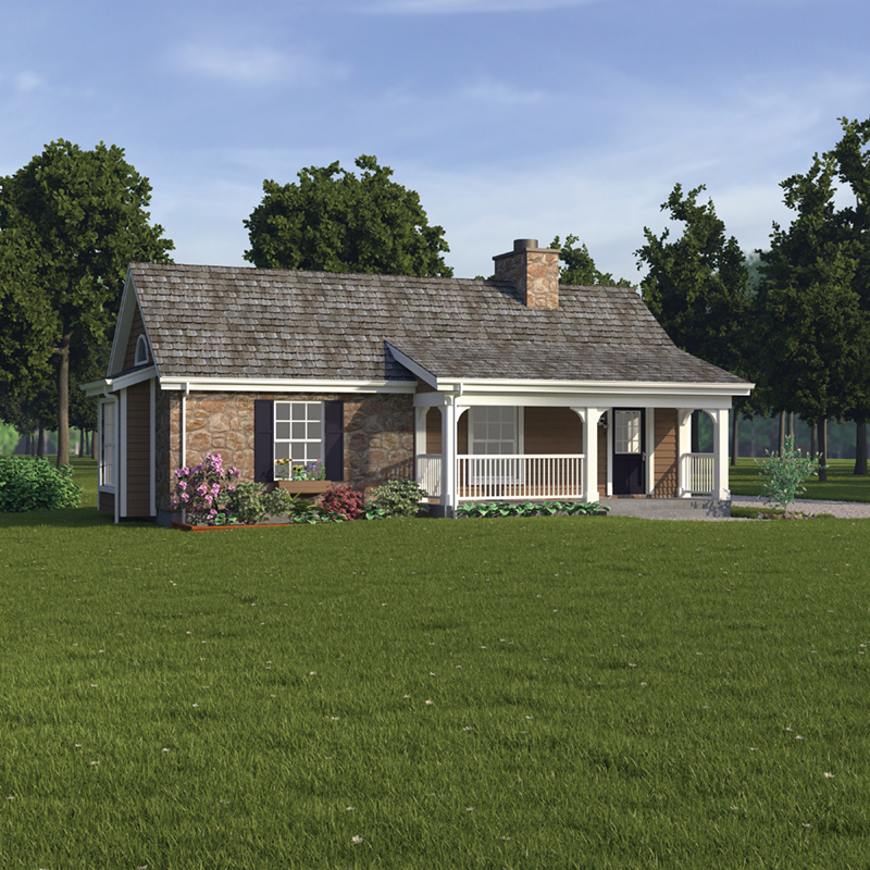 Ranch House Plan Front of Home 007D-0043