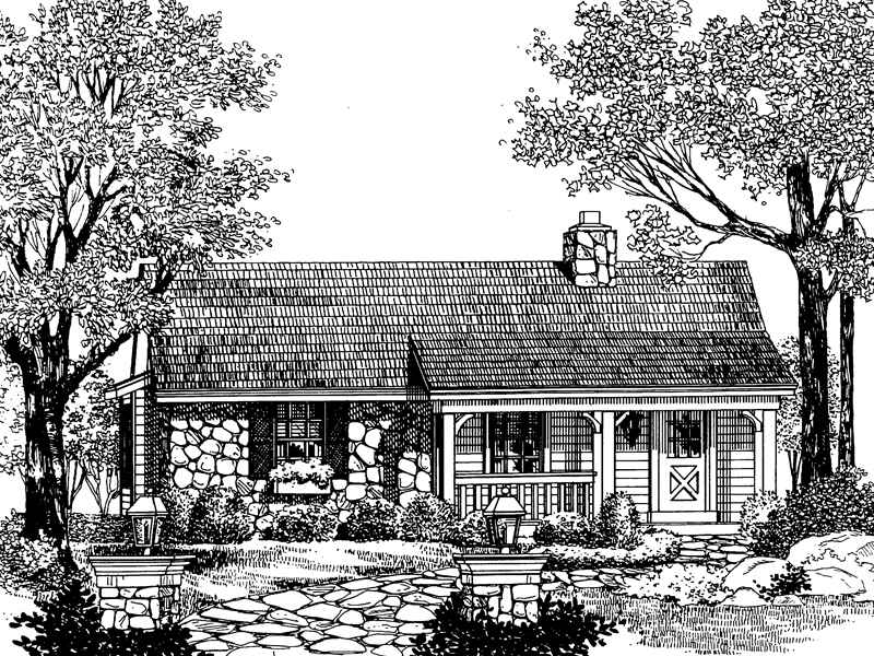 Cabin and Cottage Plan Front Image of House 007D-0043