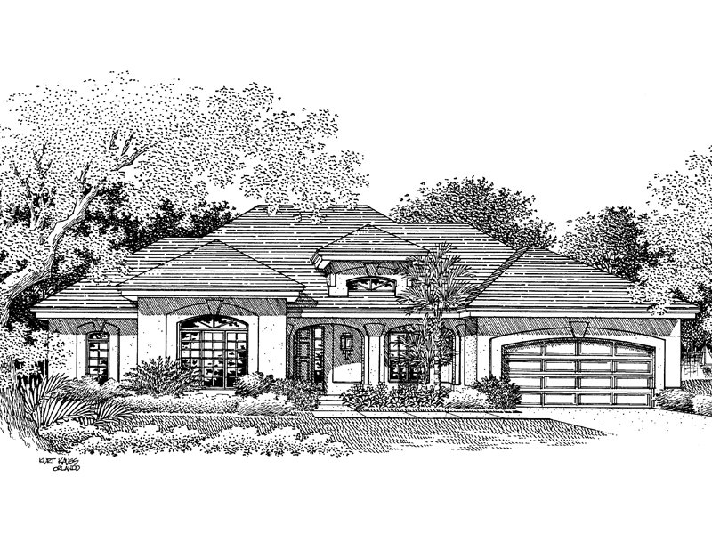 Florida House Plan Front Image of House 007D-0046