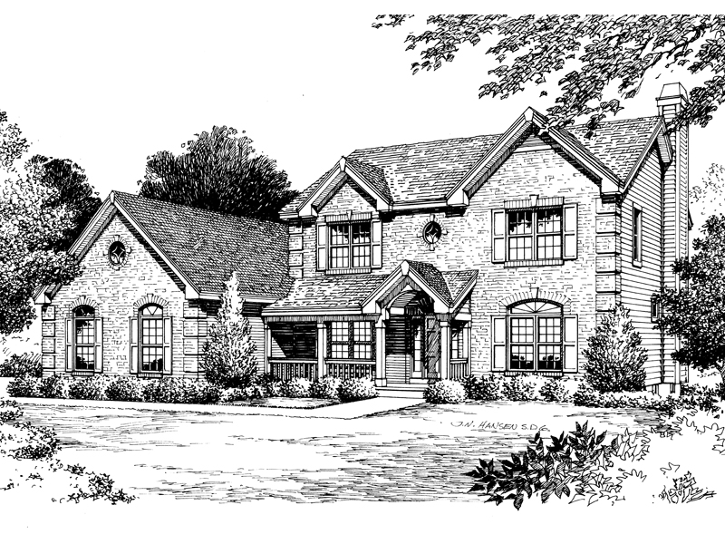 Traditional House Plan Front Image of House 007D-0047