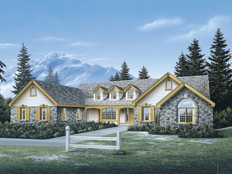 Country House Plan Front of Home 007D-0048