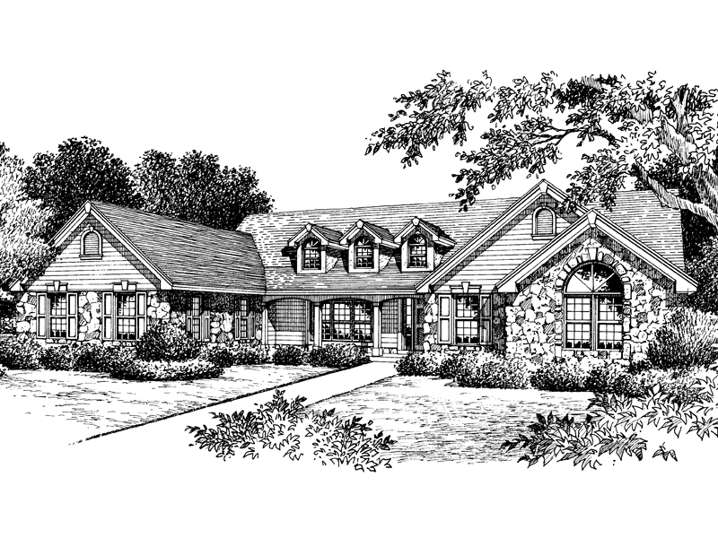 Ranch House Plan Front Image of House - 007D-0048 | House Plans and More