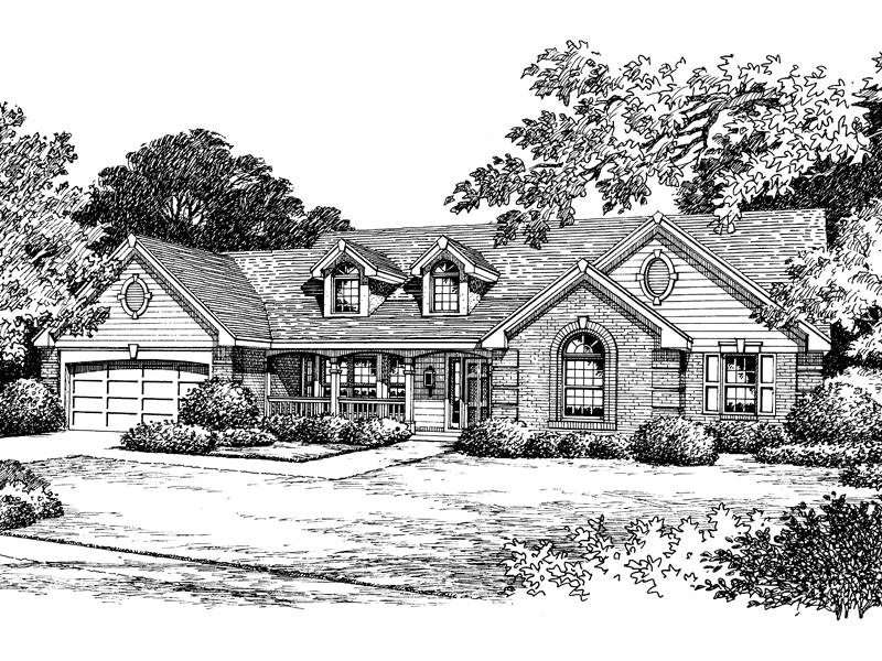 Traditional House Plan Front Image of House 007D-0049