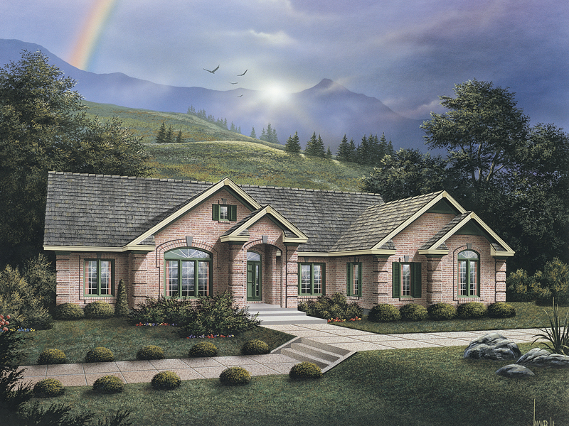 Ranch House Plan Front of Home 007D-0050