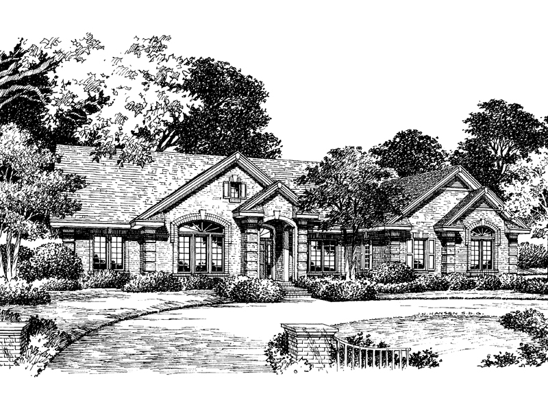 Traditional House Plan Front Image of House 007D-0050
