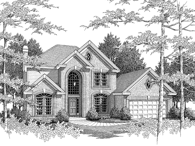 Traditional House Plan Front Image of House 007D-0051