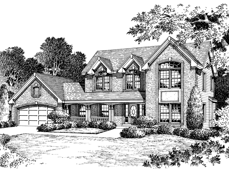 Colonial House Plan Front Image of House - 007D-0052 | House Plans and More