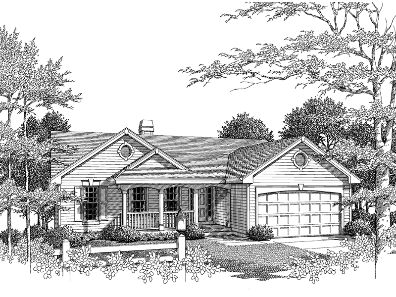 Ranch House Plan Front Image of House 007D-0053
