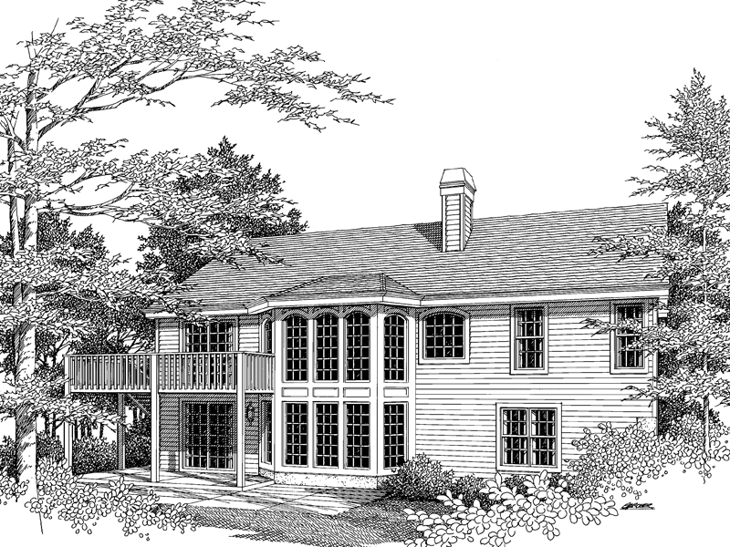 Ranch House Plan Rear Image of House 007D-0053