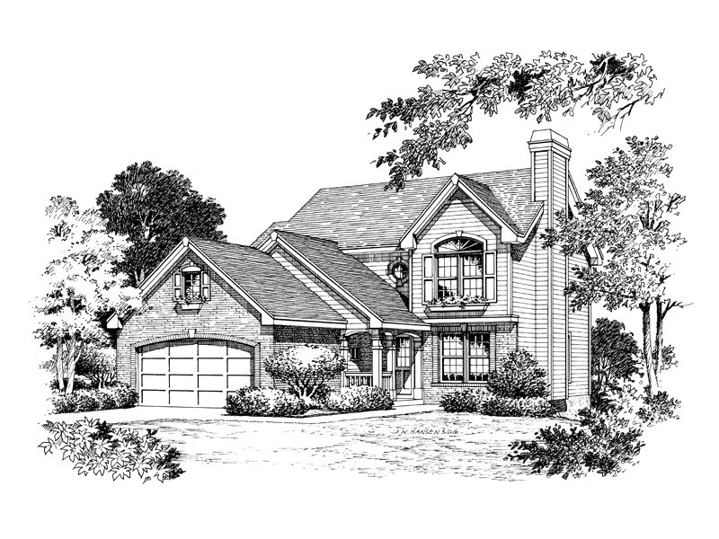 Country House Plan Front Image of House 007D-0054