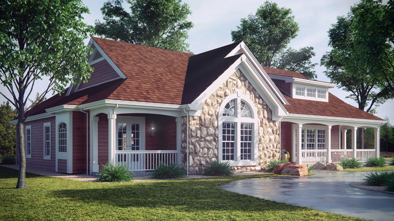Ranch House Plan Front of Home 007D-0055