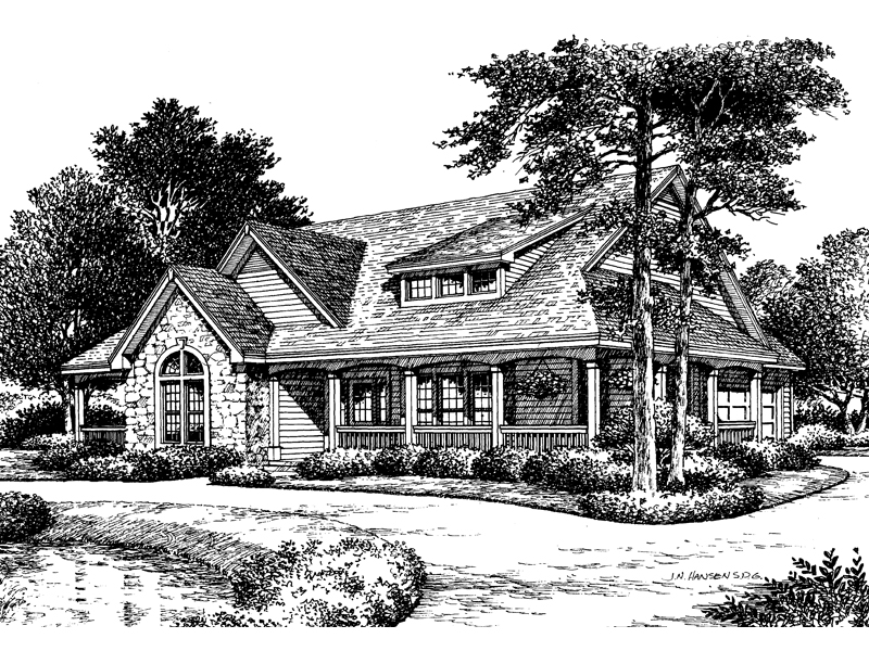 Bungalow House Plan Front Image of House 007D-0055