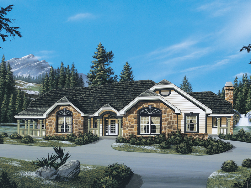 Mountain Home Plan Front of Home 007D-0056