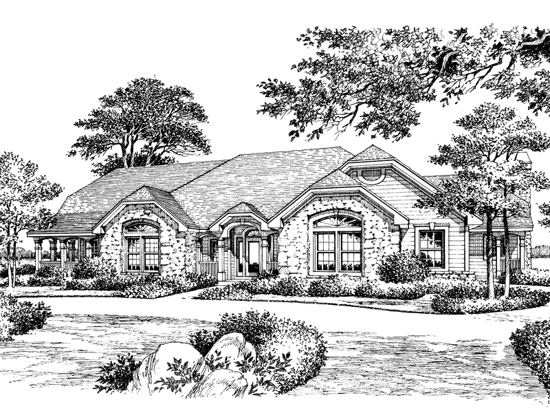 Traditional House Plan Front Image of House 007D-0056