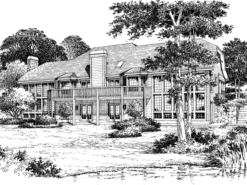 Mountain Home Plan Rear Image of House 007D-0056
