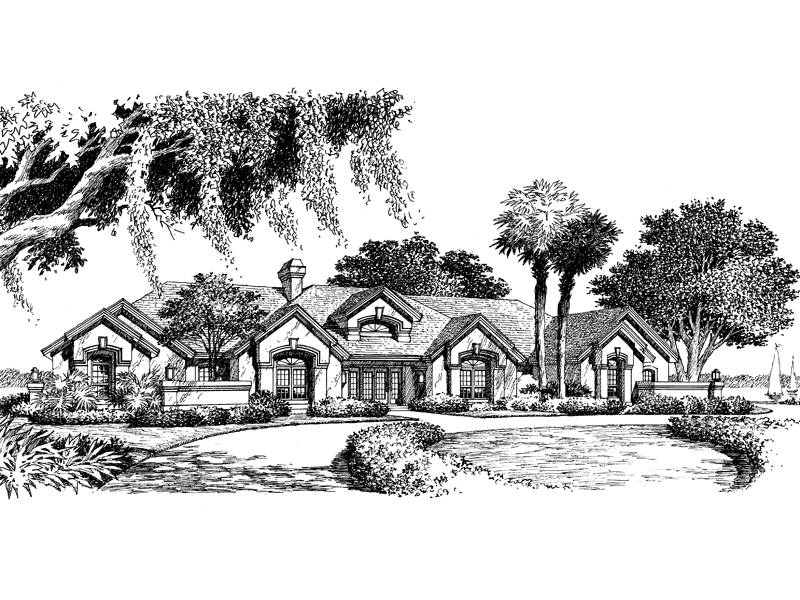 Southwestern House Plan Front Image of House 007D-0058
