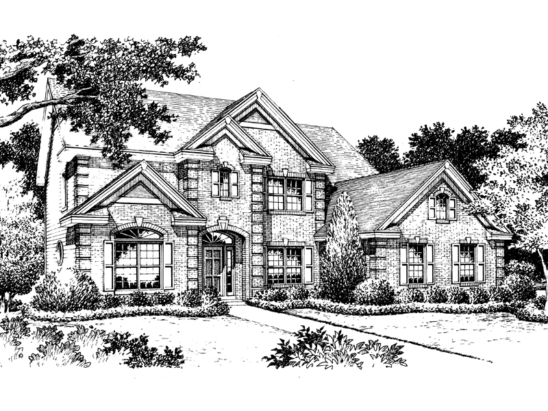 Traditional House Plan Front Image of House 007D-0059