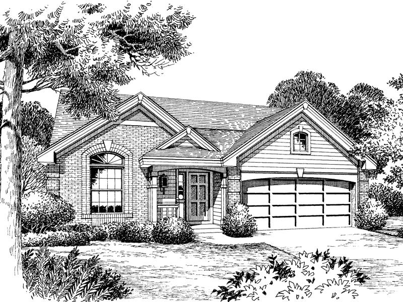 Traditional House Plan Front Image of House 007D-0060