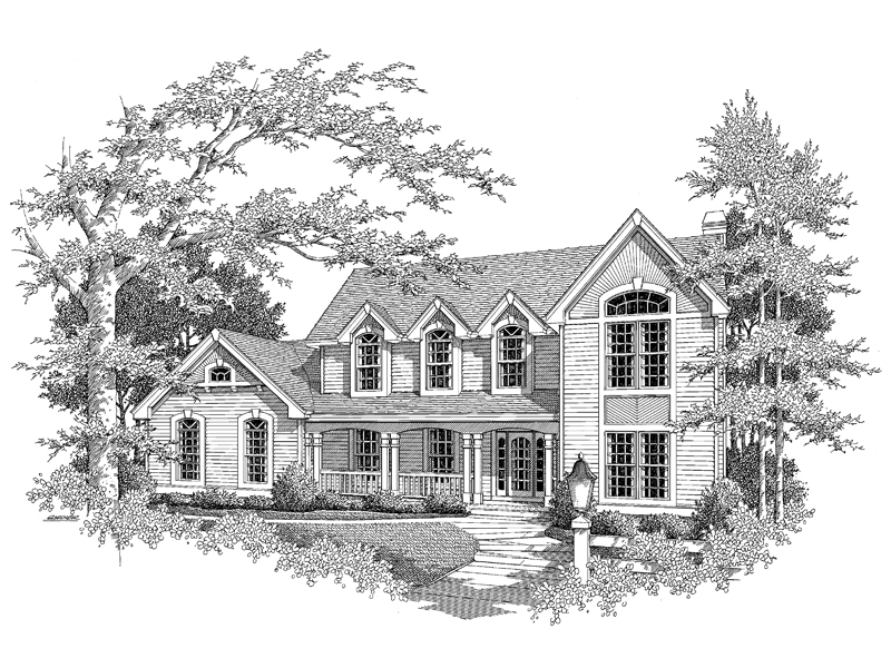 Colonial House Plan Front Image of House - 007D-0064 | House Plans and More
