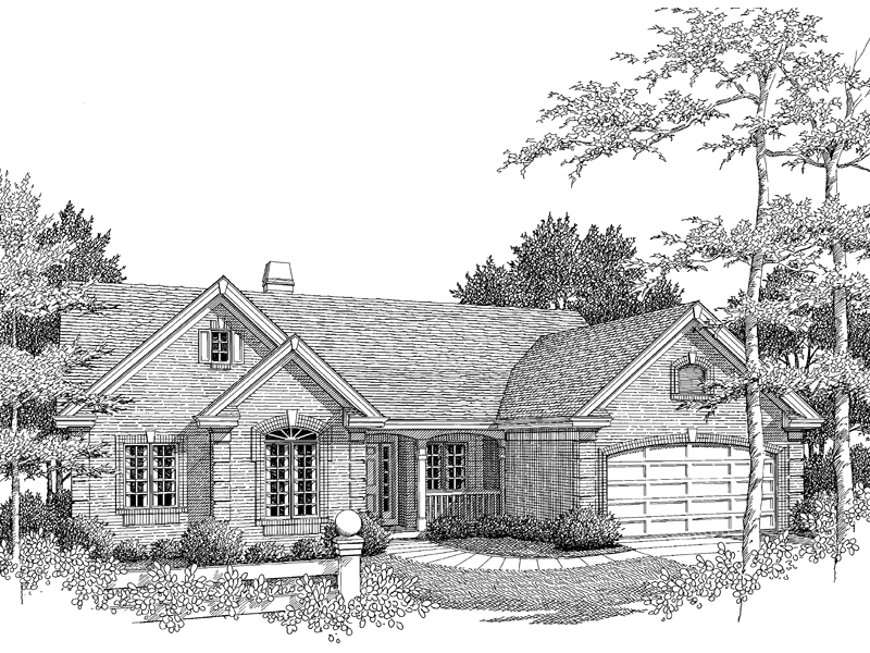 Ranch House Plan Front Image of House 007D-0065