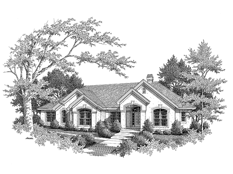 Ranch House Plan Front Image of House 007D-0066
