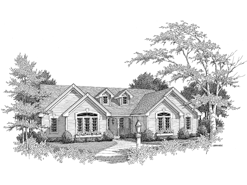 Traditional House Plan Front Image of House 007D-0067