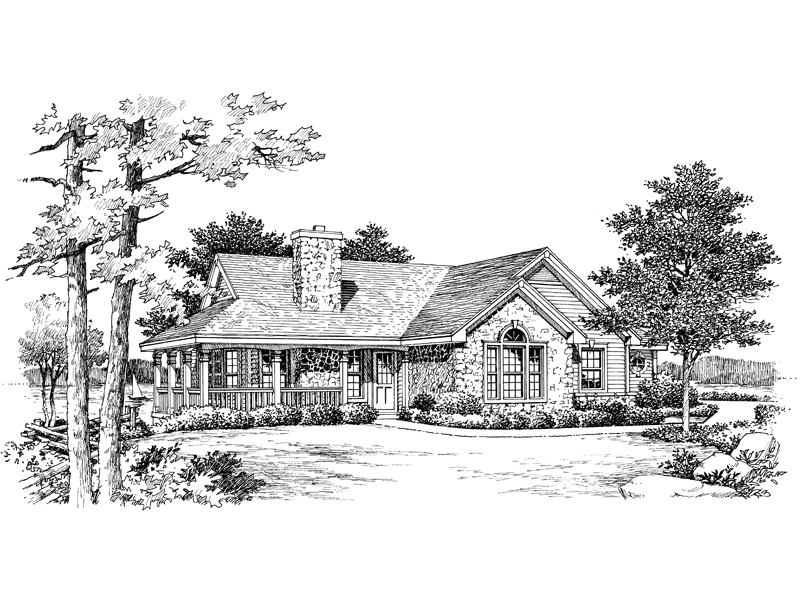 Lake House Plan Front Image of House 007D-0068