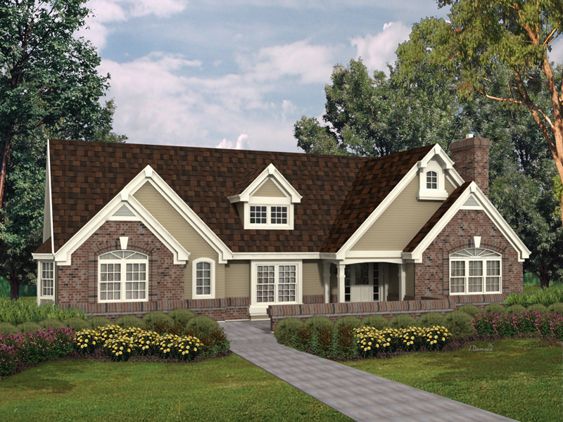 Ranch House Plan Front of Home 007D-0069