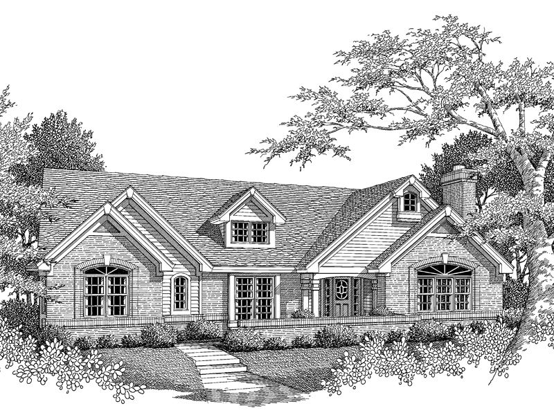 Ranch House Plan Front Image of House 007D-0069