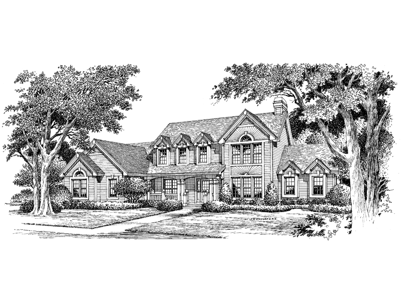 Traditional House Plan Front Image of House 007D-0072