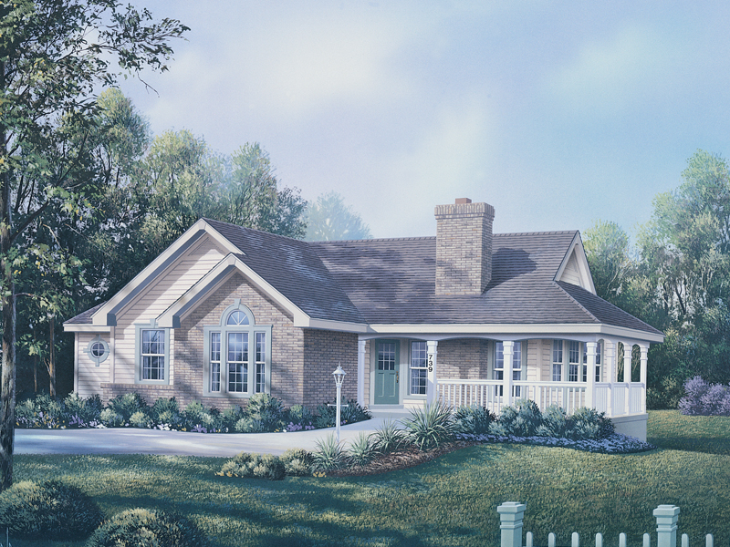 Ranch House Plan Front of Home 007D-0075