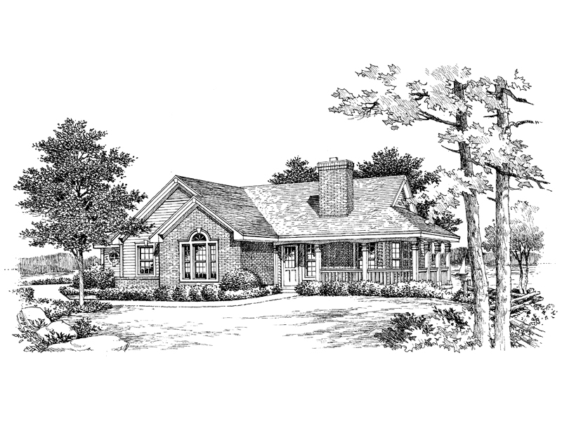 Ranch House Plan Front Image of House 007D-0075