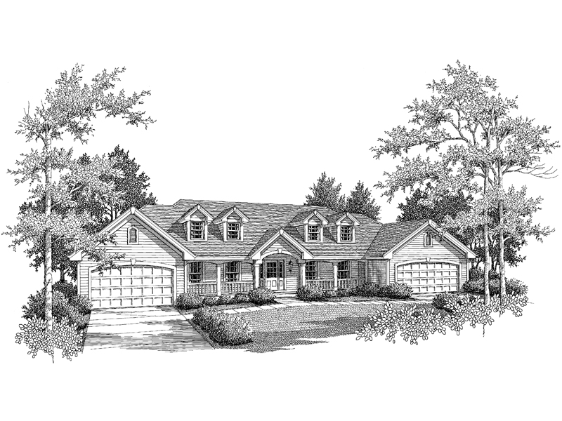 Multi-Family House Plan Front Image of House - 007D-0076 | House Plans and More