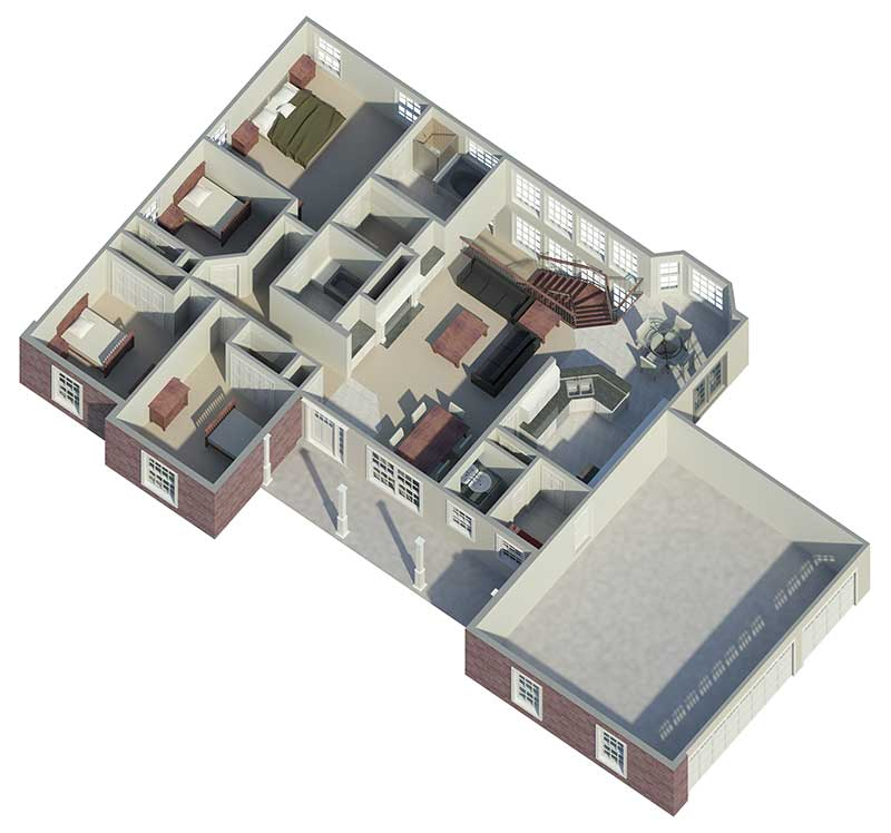 Cape Cod and New England Plan 3D First Floor 007D-0077