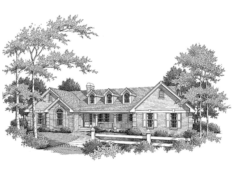 Ranch House Plan Front Image of House 007D-0077