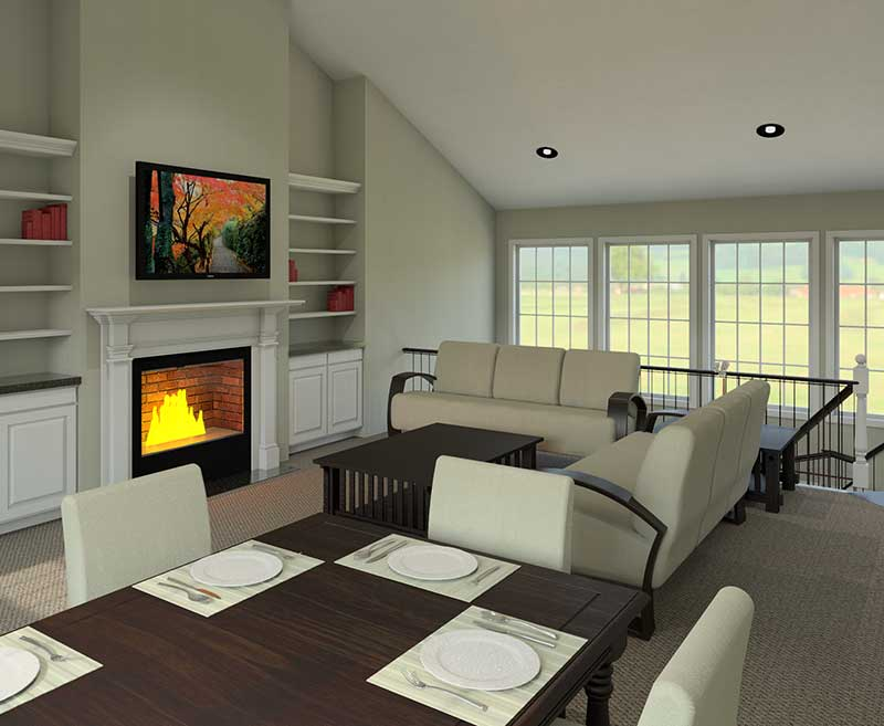 Ranch House Plan Great Room Photo 02 007D-0077