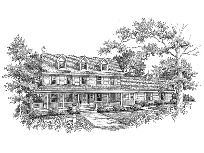 Colonial House Plan Front Image of House - 007D-0079 | House Plans and More