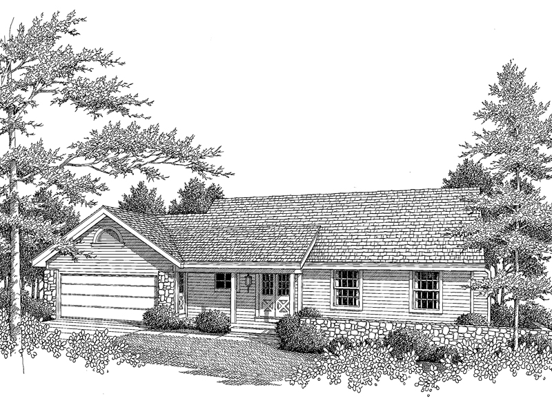 Ranch House Plan Front Image of House - 007D-0081 | House Plans and More
