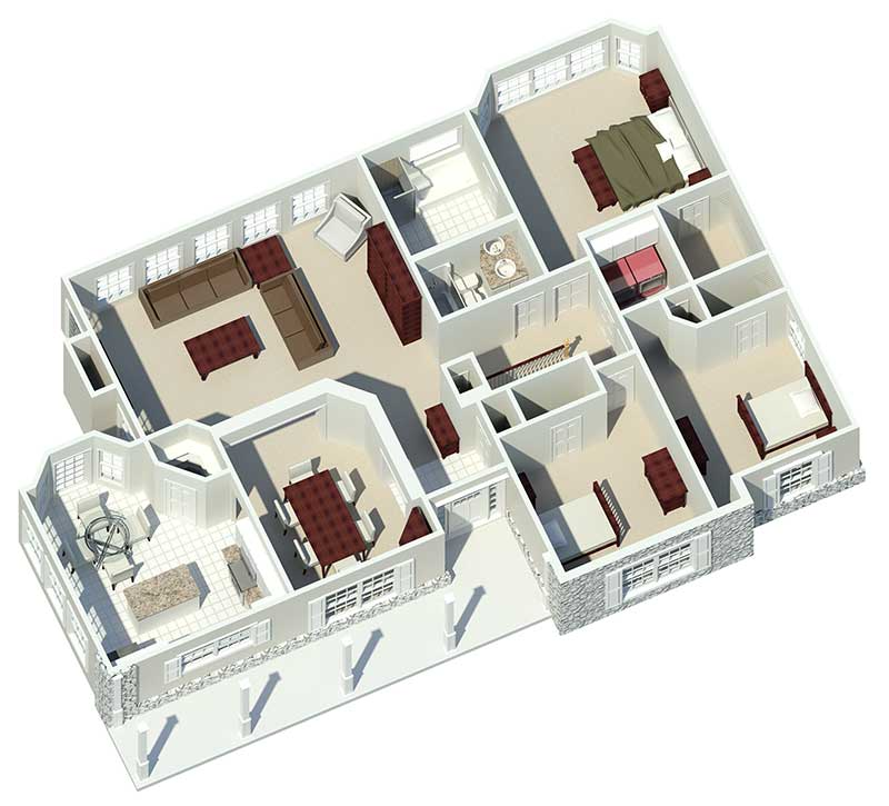 Cape Cod and New England Plan 3D First Floor 007D-0085