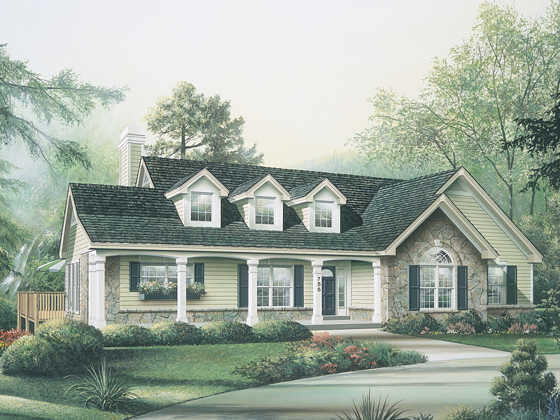 Ranch House Plan Front of Home 007D-0085