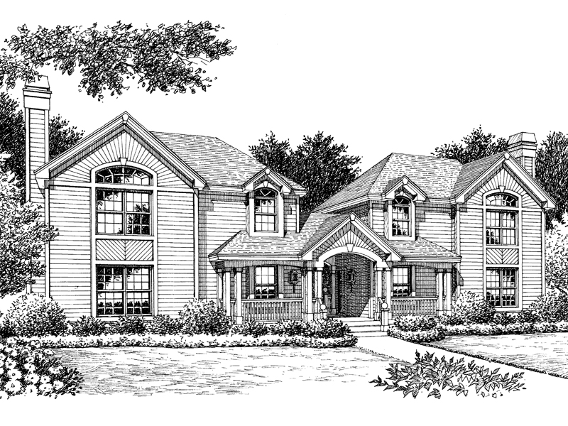Traditional House Plan Front Image of House 007D-0091