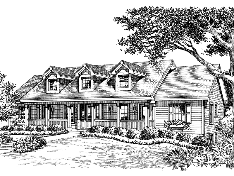 Ranch House Plan Front Image of House 007D-0092