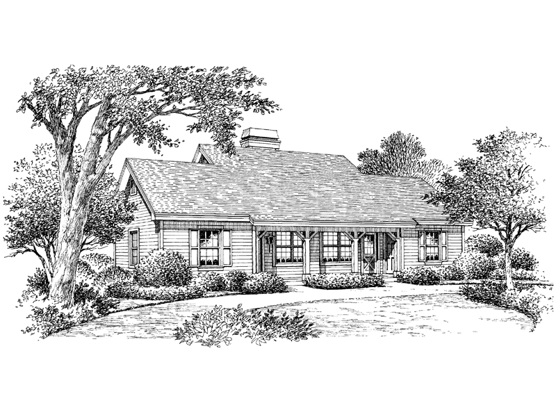 Ranch House Plan Front Image of House 007D-0093
