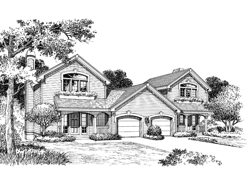 Multi-Family House Plan Front Image of House - 007D-0094 | House Plans and More